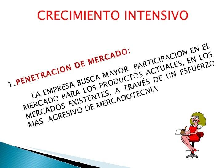 CRECIMIENTO INTENSIVO <ul><ul><li>PENETRACION DE MERCADO: </li></ul></ul><ul><ul><li>LA EMPRESA BUSCA MAYOR  PARTICIPACION...