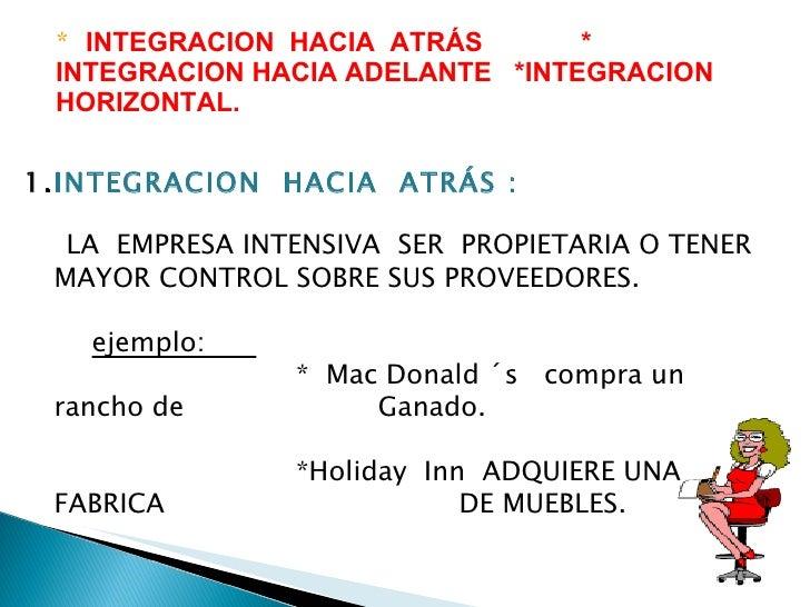 *  INTEGRACION  HACIA  ATRÁS  * INTEGRACION HACIA ADELANTE  *INTEGRACION HORIZONTAL. <ul><li>INTEGRACION  HACIA  ATRÁS : <...