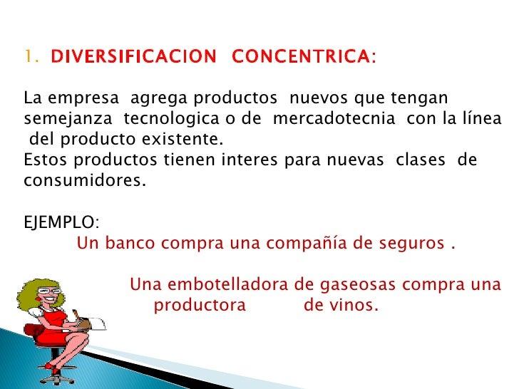 1.  DIVERSIFICACION  CONCENTRICA: La empresa  agrega productos  nuevos que tengan  semejanza  tecnologica o de  mercadotec...