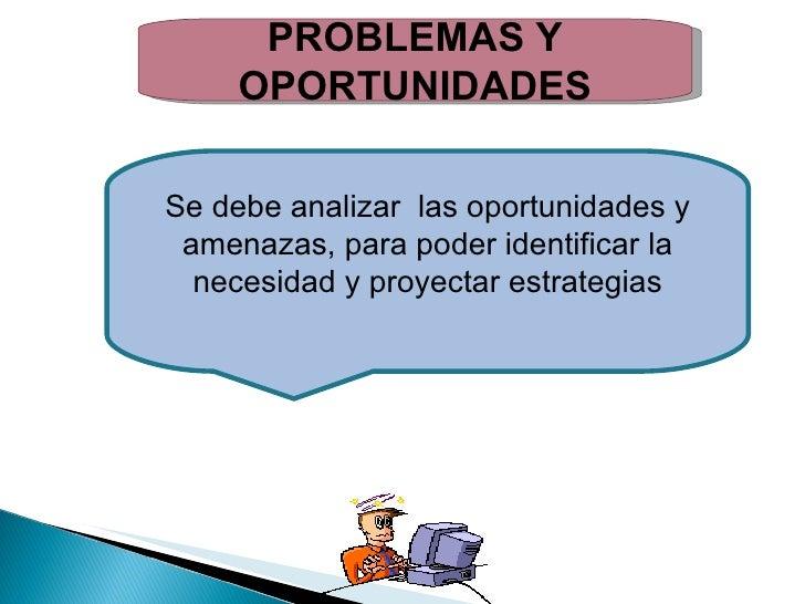 PROBLEMAS Y OPORTUNIDADES Se debe analizar  las oportunidades y amenazas, para poder identificar la necesidad y proyectar ...