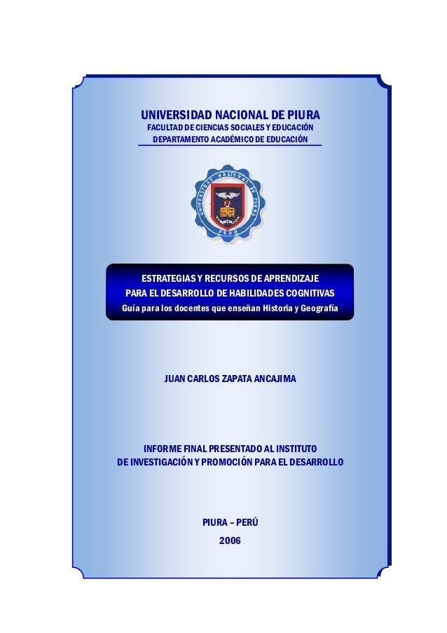 UNIVERSIDAD NACIONAL DE PIURA UNIVERSIDAD NACIONAL DE PIURA FACULTAD DE CIENCIAS SOCIALES Y EDUCACIÓN DEPARTAMENTO ACADÉMI...