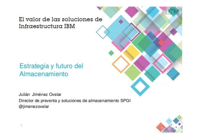 Estrategia y futuro del 1 Julián Jiménez Ovelar Director de preventa y soluciones de almacenamiento SPGI @jimenezovelar Es...