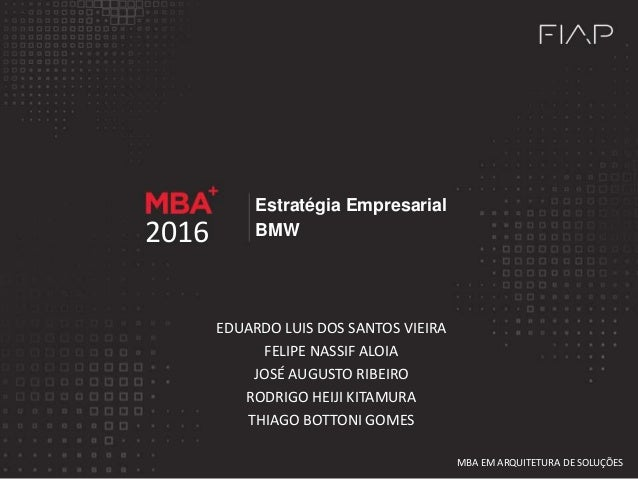 Estratégia Empresarial BMW2016 EDUARDO LUIS DOS SANTOS VIEIRA FELIPE NASSIF ALOIA JOSÉ AUGUSTO RIBEIRO RODRIGO HEIJI KITAM...