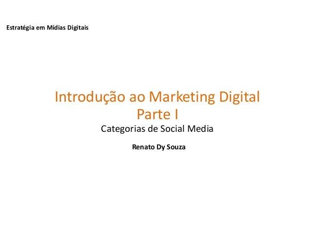 Estratégia em Mídias DigitaisIntrodução ao Marketing DigitalParte ICategorias de Social MediaRenato Dy Souza