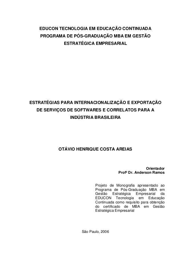 EDUCON TECNOLOGIA EM EDUCAÇÃO CONTINUADA PROGRAMA DE PÓS-GRADUAÇÃO MBA EM GESTÃO ESTRATÉGICA EMPRESARIAL ESTRATÉGIAS PARA ...