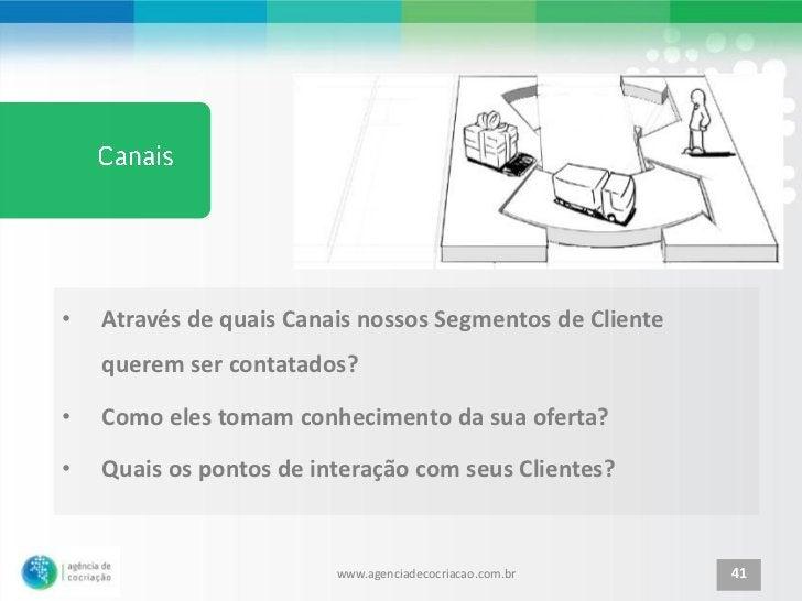 •   Através de quais Canais nossos Segmentos de Cliente    querem ser contatados?•   Como eles tomam conhecimento da sua o...