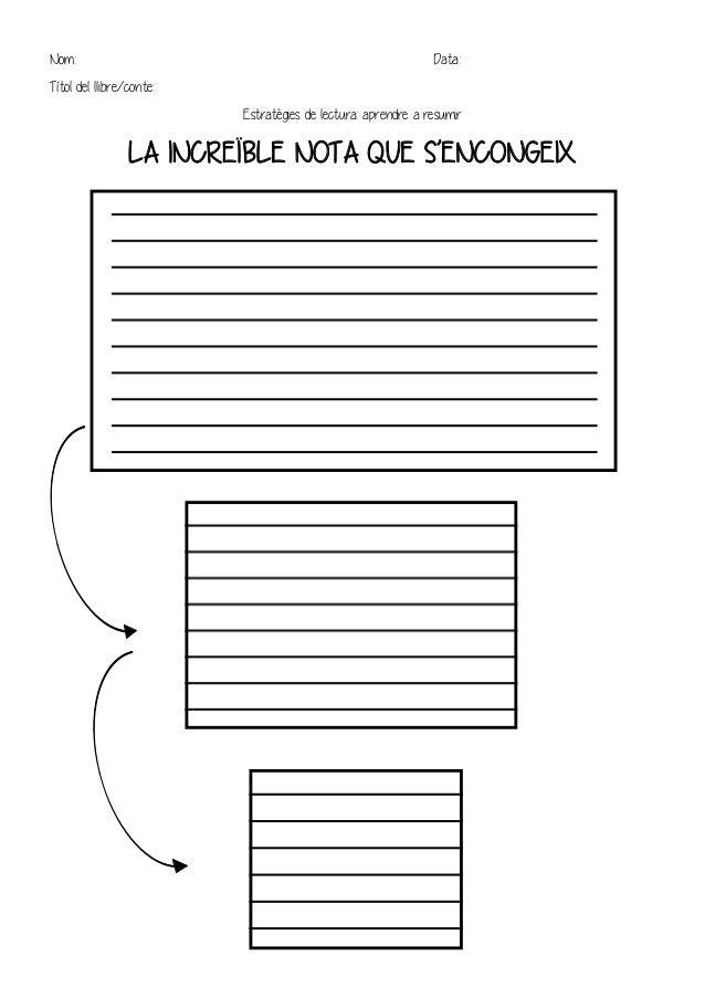 Nom: Data: Títol del llibre/conte: Estratègies de lectura: aprendre a resumir LA INCREÏBLE NOTA QUE S'ENCONGEIX