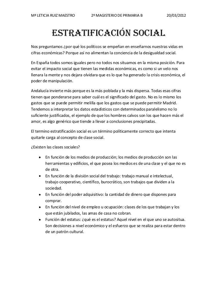 Mª LETICIA RUIZ MAESTRO           2º MAGISTERIO DE PRIMARIA B                20/03/2012            ESTRATIFICACIÓN SOCIALN...