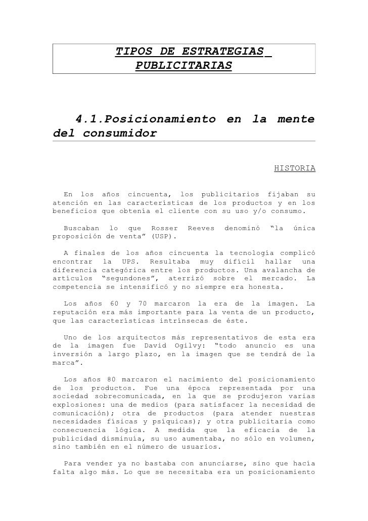 TIPOS DE ESTRATEGIAS                 PUBLICITARIAS       4.1.Posicionamiento en la mente del consumidor                   ...