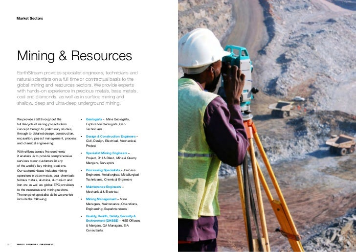 Market Sectors     Mining & Resources     EarthStream provides specialist engineers, technicians and     natural scientist...
