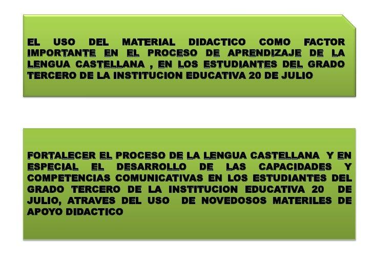 EL USO DEL MATERIAL DIDACTICO COMO FACTOR IMPORTANTE EN EL PROCESO DE APRENDIZAJE DE LA LENGUA CASTELLANA , EN LOS ESTUDIA...