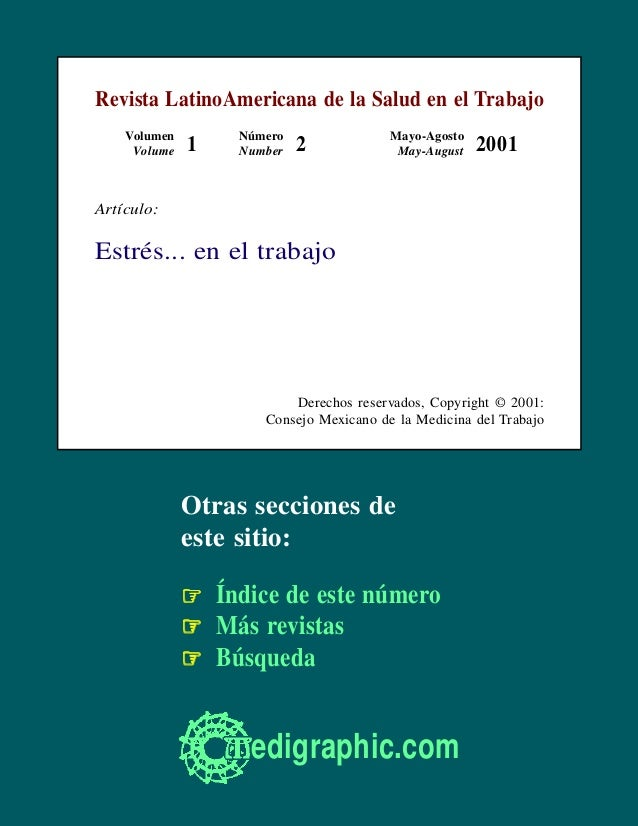 Revista LatinoAmericana de la Salud en el Trabajo Volumen Volume  1  Número Number  2  Mayo-Agosto May-August  2001  Artíc...