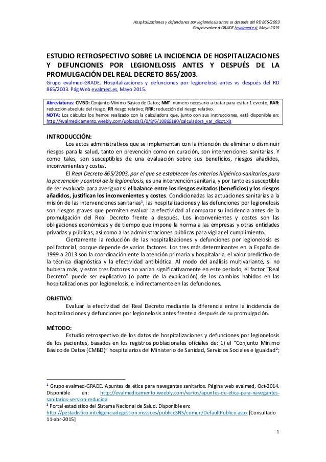 Hospitalizaciones y defunciones por legionelosis antes vs después del RD 865/2003 Grupo evalmed-GRADE (evalmed.es), Mayo 2...