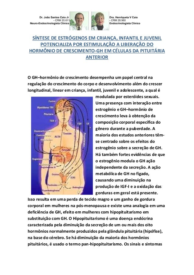 SÍNTESE DE ESTRÓGENOS EM CRIANÇA, INFANTIL E JUVENIL POTENCIALIZA POR ESTIMULAÇÃO A LIBERAÇÃO DO HORMÔNIO DE CRESCIMENTO-G...