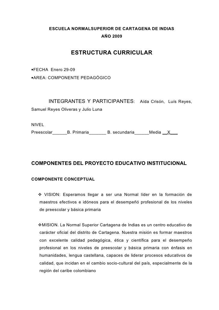ESCUELA NORMALSUPERIOR DE CARTAGENA DE INDIAS                                      AÑO 2009                      ESTRUCTUR...