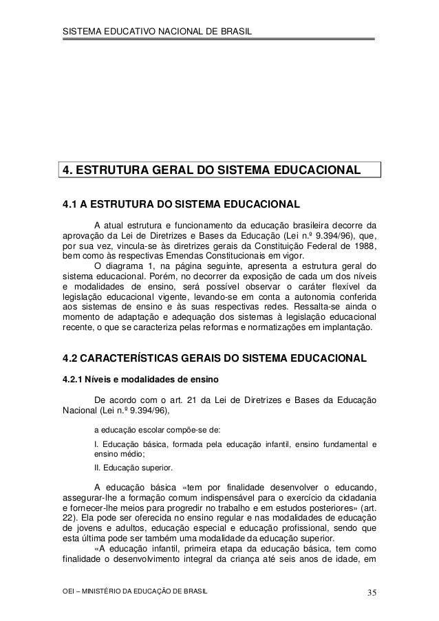 SISTEMA EDUCATIVO NACIONAL DE BRASIL 4. ESTRUTURA GERAL DO SISTEMA EDUCACIONAL 4.1 A ESTRUTURA DO SISTEMA EDUCACIONAL A at...
