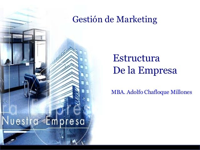 Gestión de Marketing         Estructura         De la Empresa         MBA. Adolfo Chafloque Millones