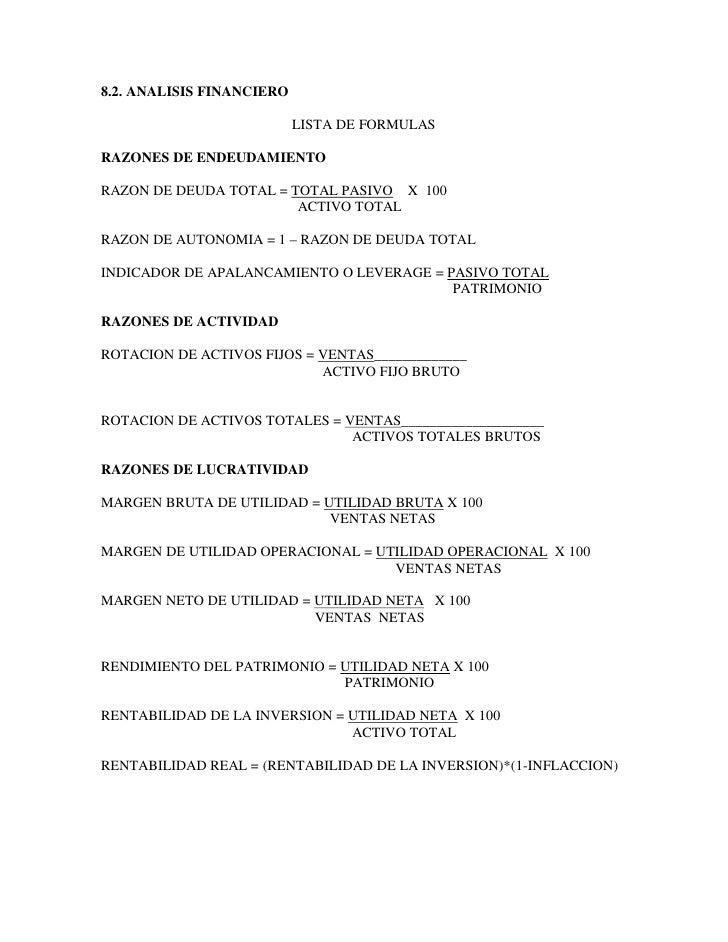 8.2. ANALISIS FINANCIERO                             LISTA DE FORMULAS  RAZONES DE ENDEUDAMIENTO  RAZON DE DEUDA TOTAL = T...