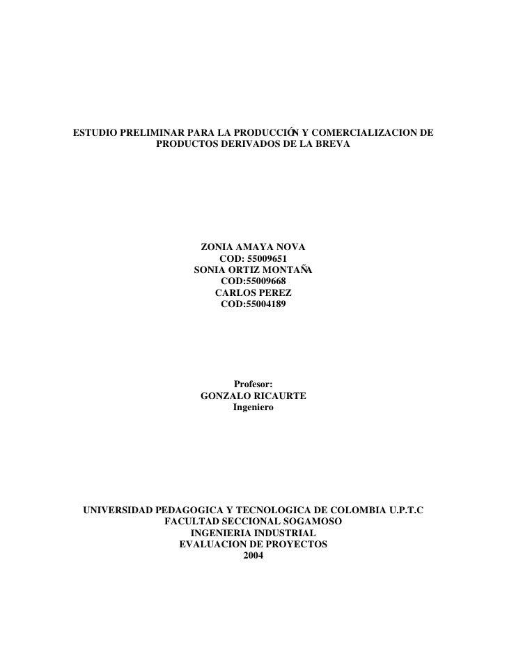 ESTUDIO PRELIMINAR PARA LA PRODUCCIÓ Y COMERCIALIZACION DE                                     N               PRODUCTOS D...