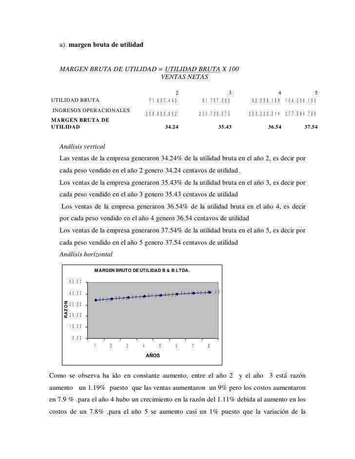 a). margen bruta de utilidad      MARGEN BRUTA DE UTILIDAD = UTILIDAD BRUTA X 100                              VENTAS NETA...