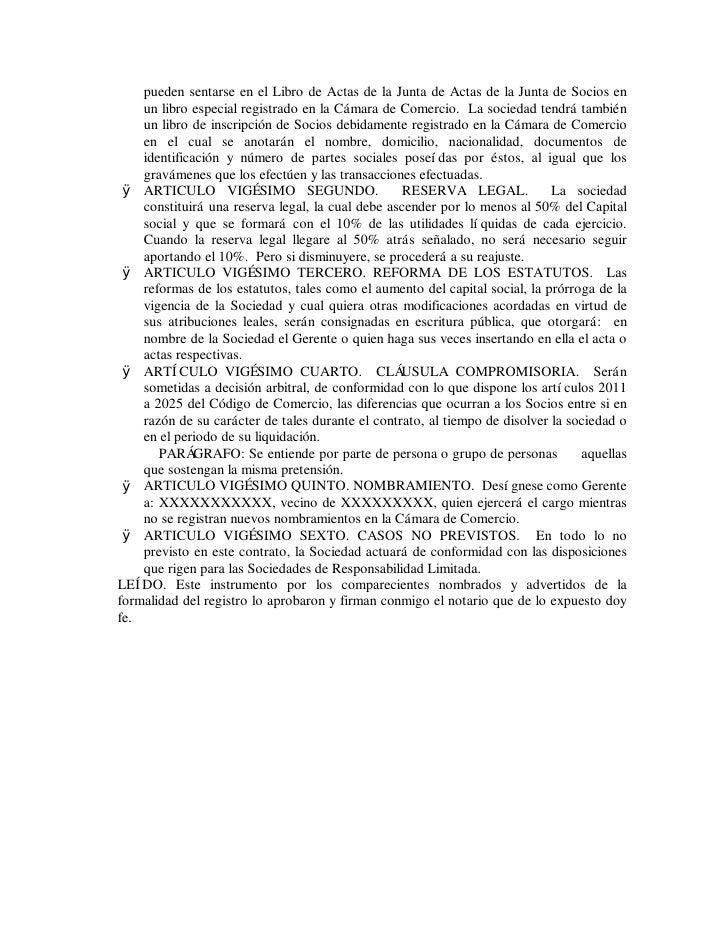 pueden sentarse en el Libro de Actas de la Junta de Actas de la Junta de Socios en     un libro especial registrado en la ...