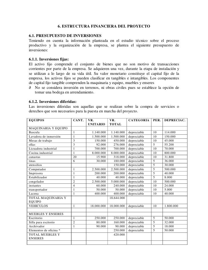 6. ESTRUCTURA FINANCIERA DEL PROYECTO  6.1. PRESUPUESTO DE INVERSIONES Teniendo en cuenta la información planteada en el e...
