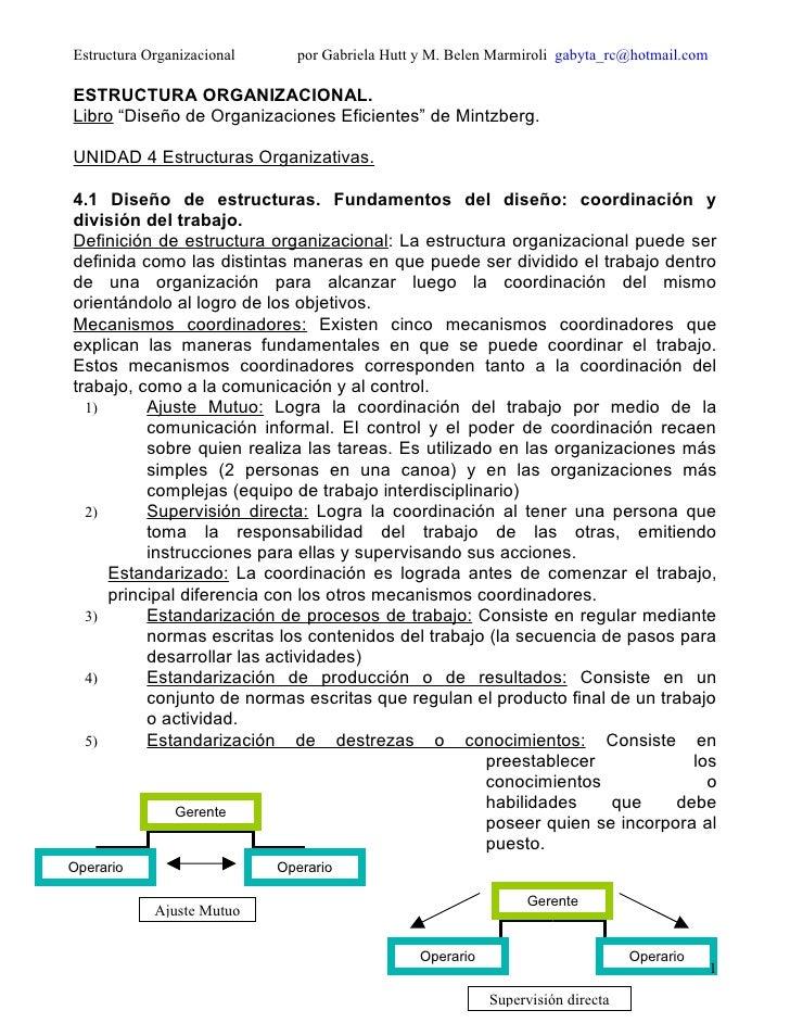 Estructura Organizacional     por Gabriela Hutt y M. Belen Marmiroli gabyta_rc@hotmail.com  ESTRUCTURA ORGANIZACIONAL. Lib...