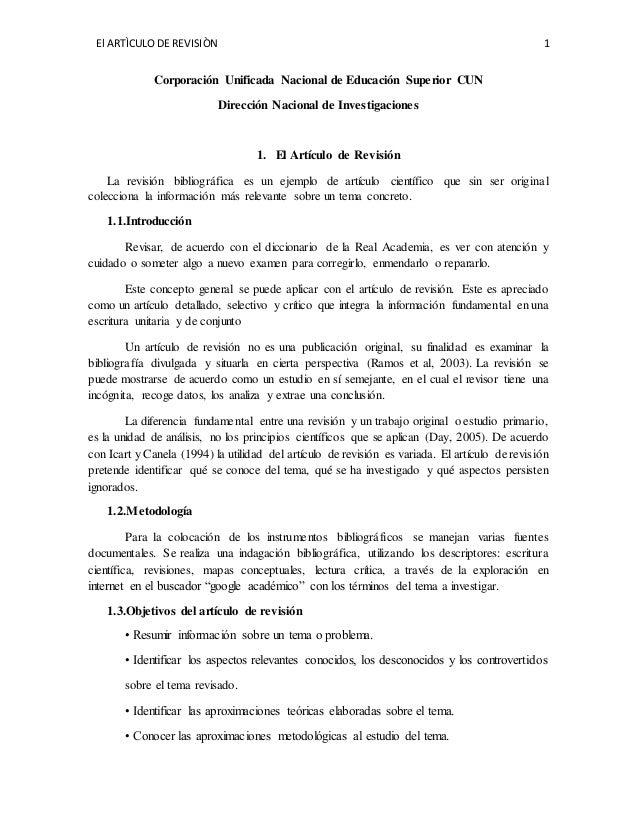 El ARTÌCULO DE REVISIÒN 1 Corporación Unificada Nacional de Educación Superior CUN Dirección Nacional de Investigaciones 1...