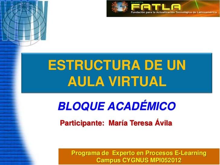 ESTRUCTURA DE UN  AULA VIRTUAL BLOQUE ACADÉMICO Participante: María Teresa Ávila    Programa de Experto en Procesos E-Lear...