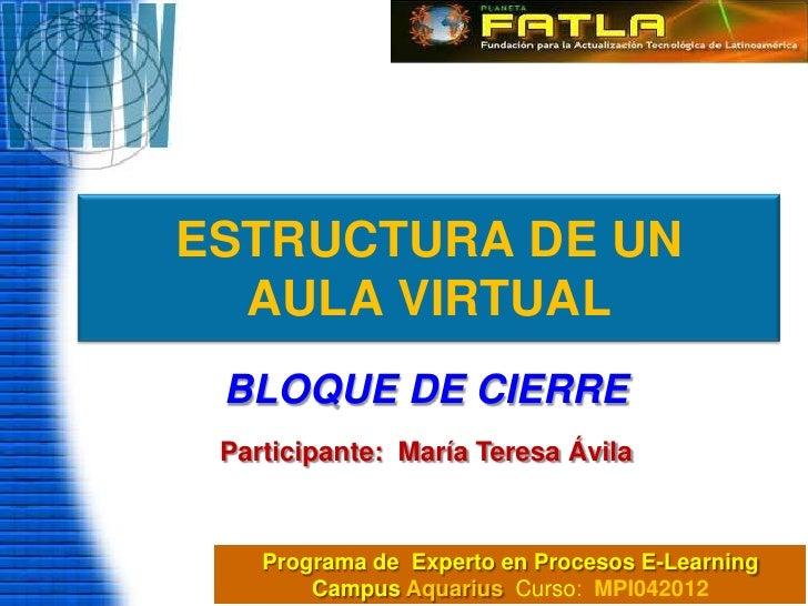 ESTRUCTURA DE UN  AULA VIRTUAL BLOQUE DE CIERRE Participante: María Teresa Ávila    Programa de Experto en Procesos E-Lear...