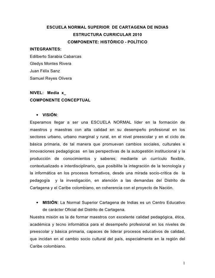 ESCUELA NORMAL SUPERIOR DE CARTAGENA DE INDIAS                        ESTRUCTURA CURRICULAR 2010                      COMP...