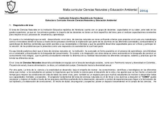 Malla curricular Ciencias Naturales y Educación Ambiental 2014 Institución Educativa República de Honduras Estructura Curr...