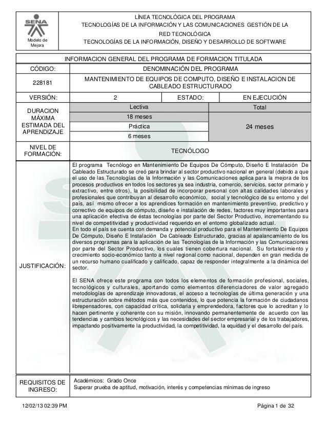 Estructura Curricular Sena Mantenimiento De Equipos De