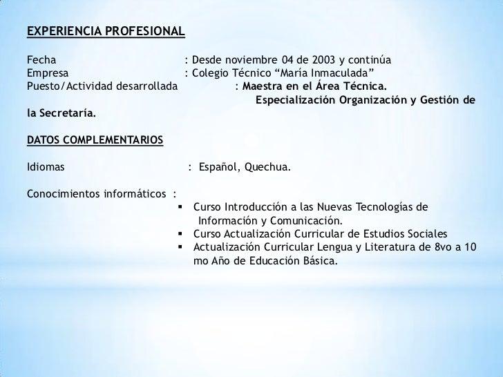 Estructura Curriculum Vitae