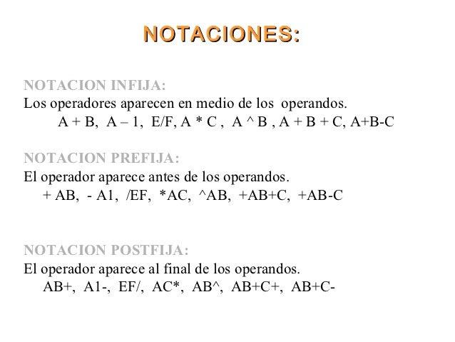 NOTACIONES:NOTACION INFIJA:Los operadores aparecen en medio de los operandos.     A + B, A – 1, E/F, A * C , A ^ B , A + B...