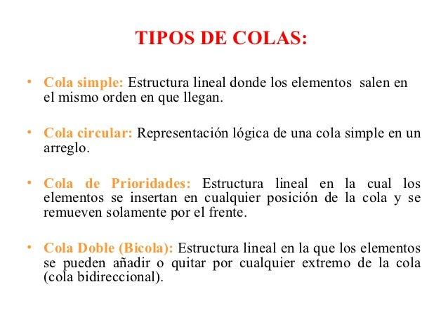 TIPOS DE COLAS:• Cola simple: Estructura lineal donde los elementos salen en  el mismo orden en que llegan.• Cola circular...