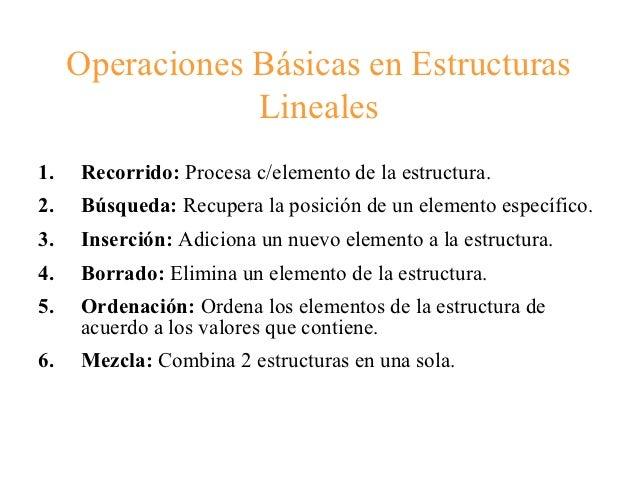 Operaciones Básicas en Estructuras                 Lineales1.   Recorrido: Procesa c/elemento de la estructura.2.   Búsque...