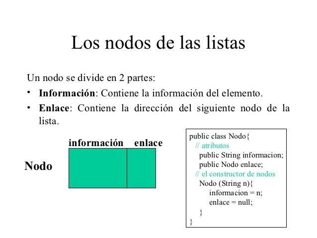 Los nodos de las listasUn nodo se divide en 2 partes:• Información: Contiene la información del elemento.• Enlace: Contien...