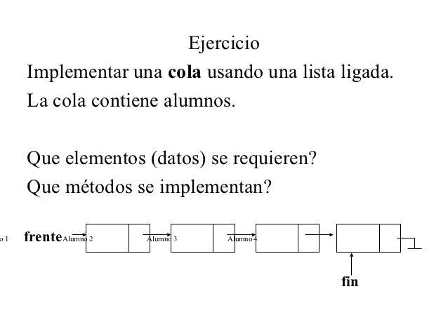 Ejercicio     Implementar una cola usando una lista ligada.     La cola contiene alumnos.     Que elementos (datos) se req...
