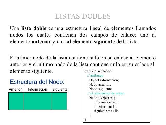 LISTAS DOBLESUna lista doble es una estructura lineal de elementos llamadosnodos los cuales contienen dos campos de enlace...