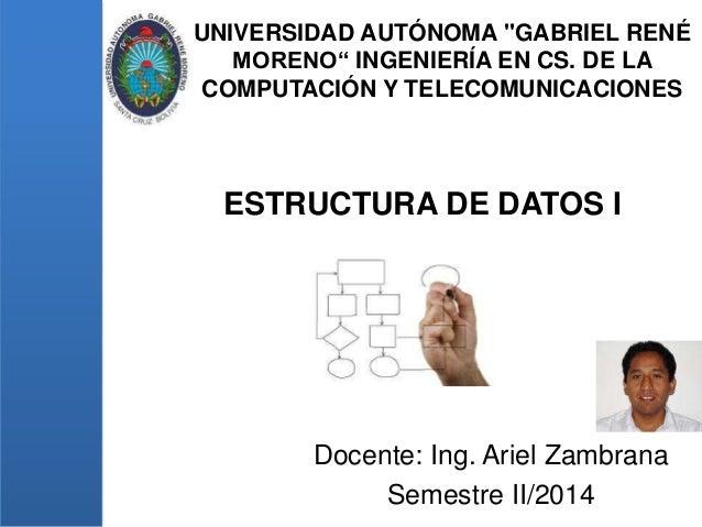 """UNIVERSIDAD AUTÓNOMA """"GABRIEL RENÉ MORENO"""" INGENIERÍA EN CS. DE LA COMPUTACIÓN Y TELECOMUNICACIONES Docente: Ing. Ariel Za..."""