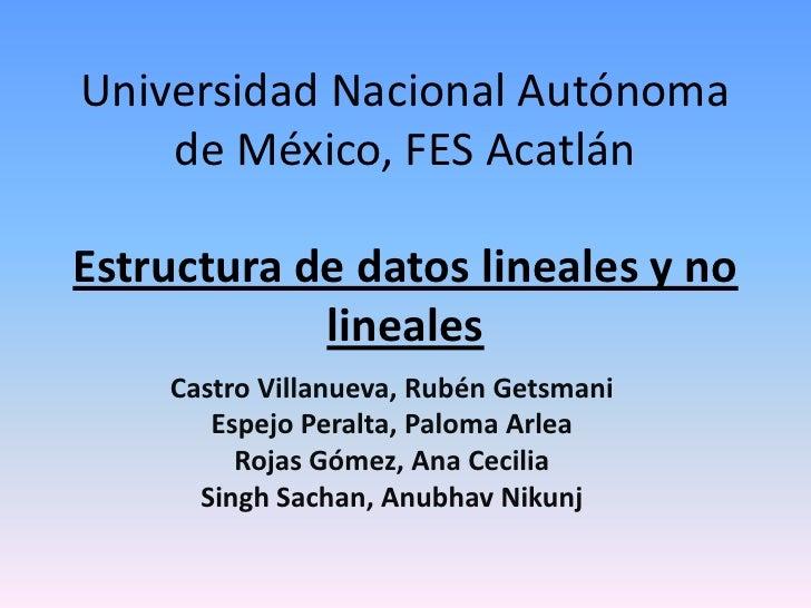 Universidad Nacional Autónoma de México, FES Acatlán<br />Estructura de datos lineales y no lineales<br />Castro Villanuev...