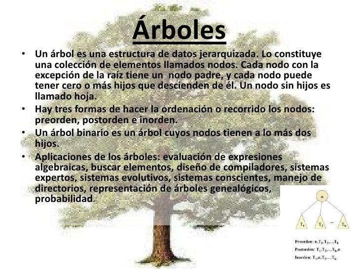 Árboles<br />Un árbol es una estructura de datos jerarquizada. Lo constituye una colección de elementos llamados nodos. Ca...