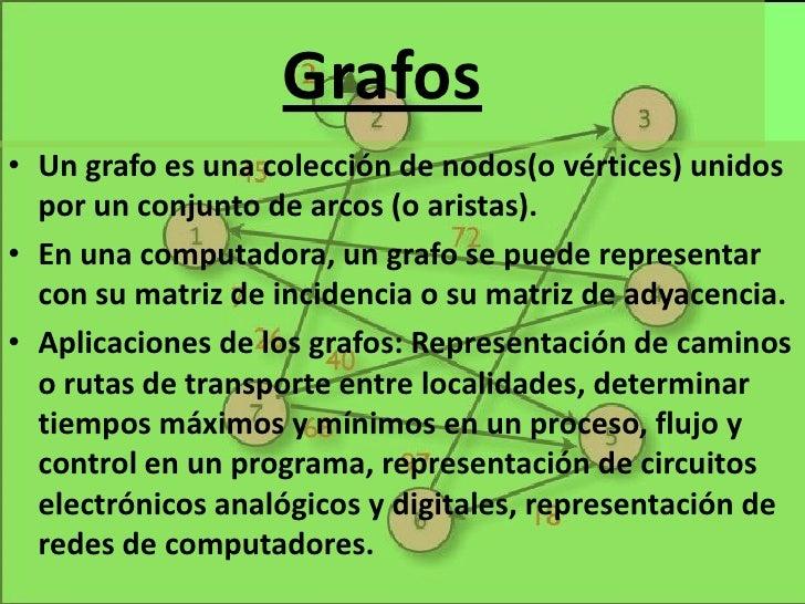 Grafos<br />Un grafo es una colección de nodos(o vértices) unidos por un conjunto de arcos (o aristas).<br />En una comput...