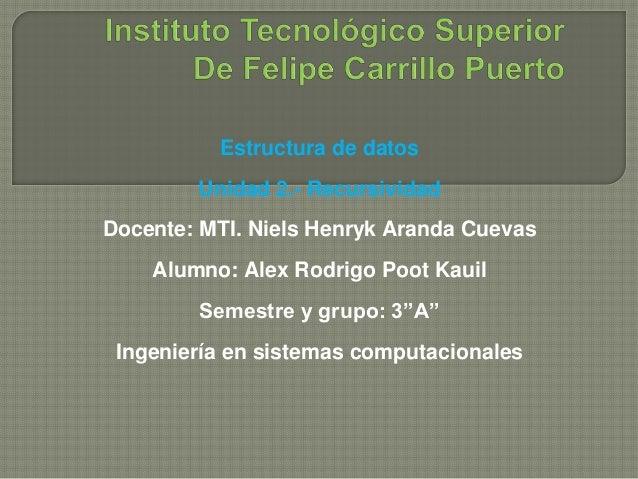 Estructura de datos  Unidad 2.- Recursividad  Docente: MTI. Niels Henryk Aranda Cuevas  Alumno: Alex Rodrigo Poot Kauil  S...