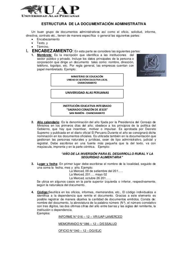 ESTRUCTURA DE LA DOCUMENTACIÓN ADMINISTRATIVAUn buen grupo de documentos administrativos así como el oficio, solicitud, in...