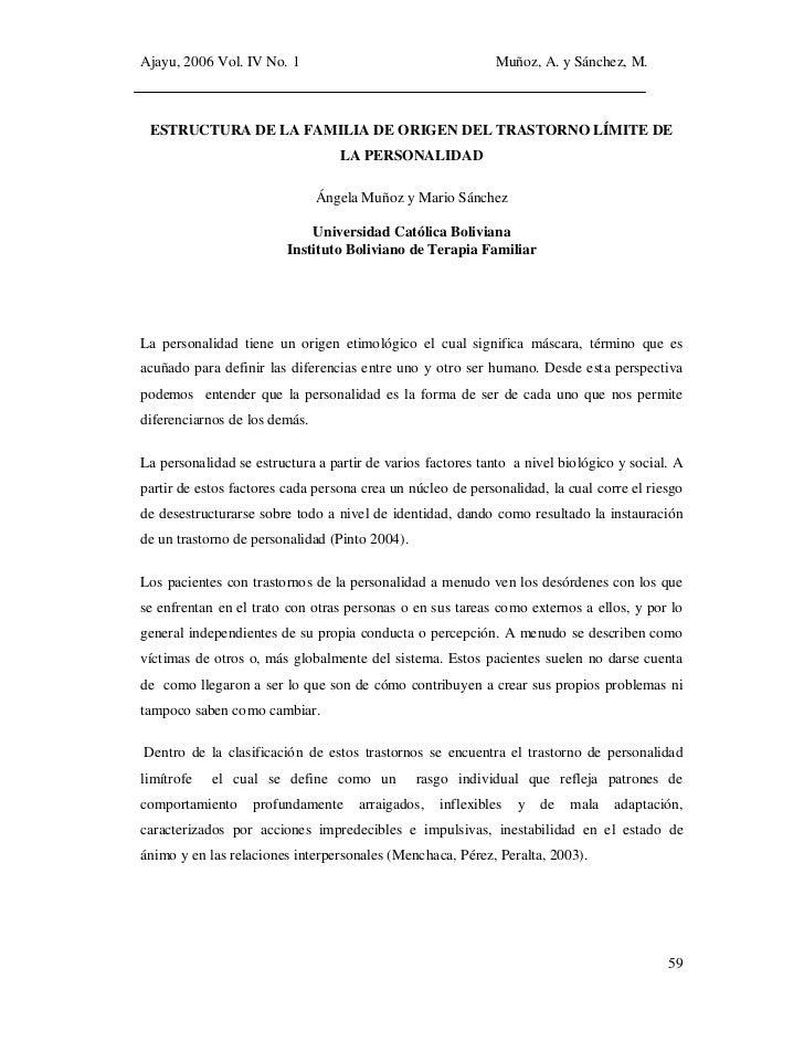 Ajayu, 2006 Vol. IV No. 1                                   Muñoz, A. y Sánchez, M. ESTRUCTURA DE LA FAMILIA DE ORIGEN DEL...