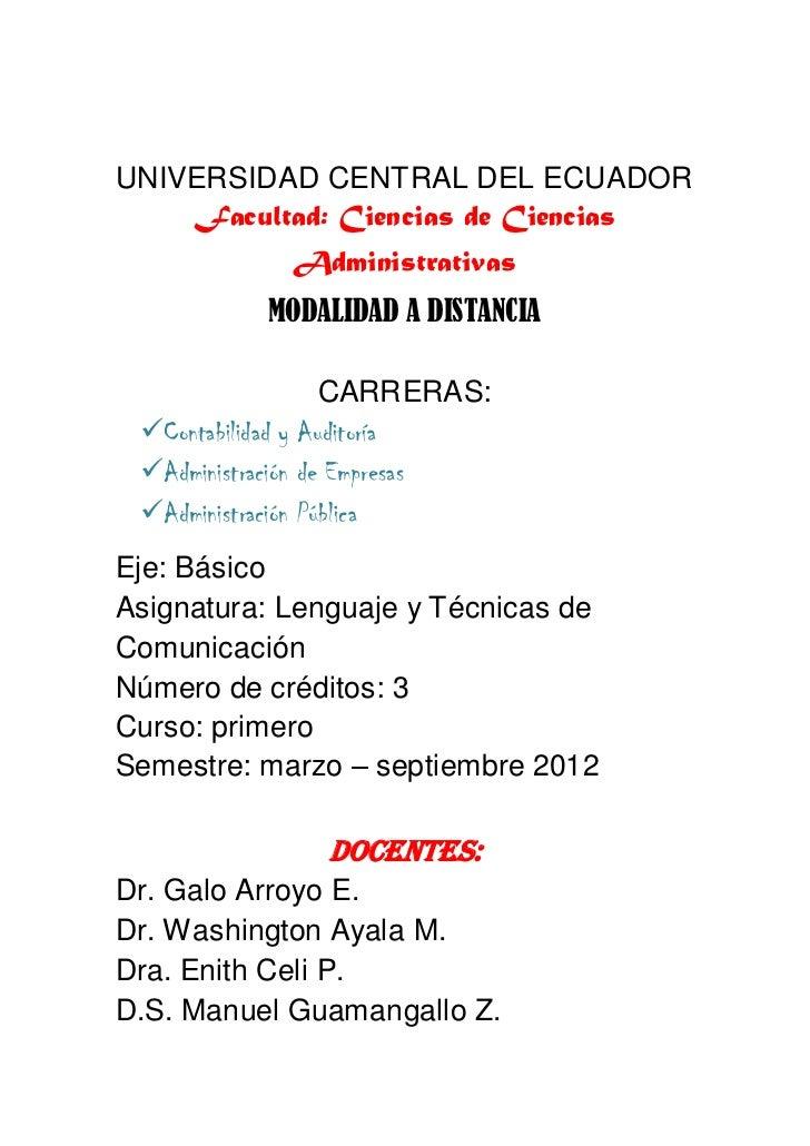 UNIVERSIDAD CENTRAL DEL ECUADOR    Facultad: Ciencias de Ciencias            Administrativas          MODALIDAD A DISTANCI...