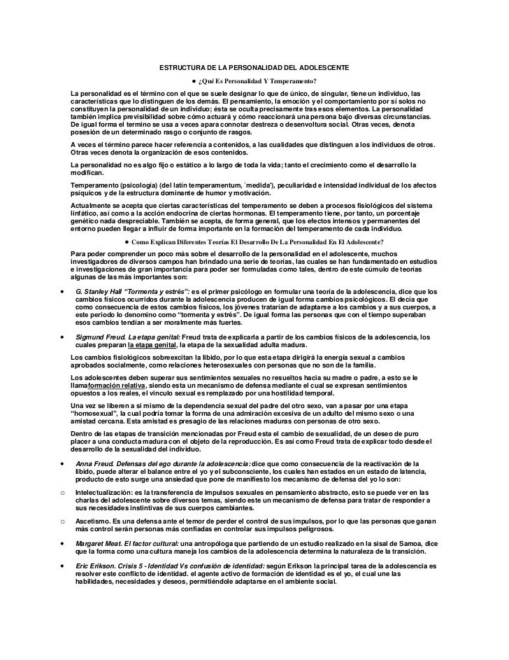 ESTRUCTURA DE LA PERSONALIDAD DEL ADOLESCENTE                                            ¿Qué Es Personalidad Y Temperame...