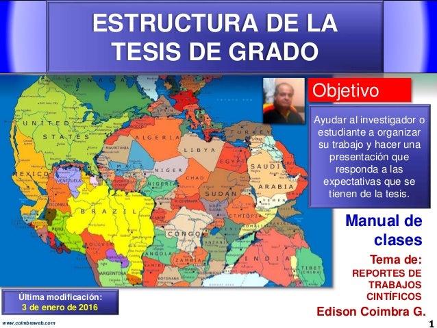 ESTRUCTURA DE LA TESIS DE GRADO 1www.coimbraweb.com Edison Coimbra G. REPORTES DE TRABAJOS CINTÍFICOS Tema de: Manual de c...